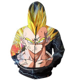 Dark Evil Demon Prince Majin Vegeta Zip Up Hoodie - Saiyan Stuff - 2