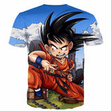 Dragon Ball Anime Angry Kid Goku Sky Clouds Blue 3D T- Shirt - Saiyan Stuff - 2