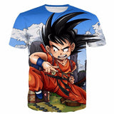 Dragon Ball Anime Angry Kid Goku Sky Clouds Blue 3D T- Shirt - Saiyan Stuff - 1