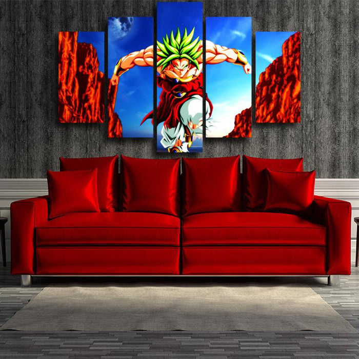 Dragon Ball Broly Super Saiyan Villain 5pc Wall Art Decor Posters Canvas Prints