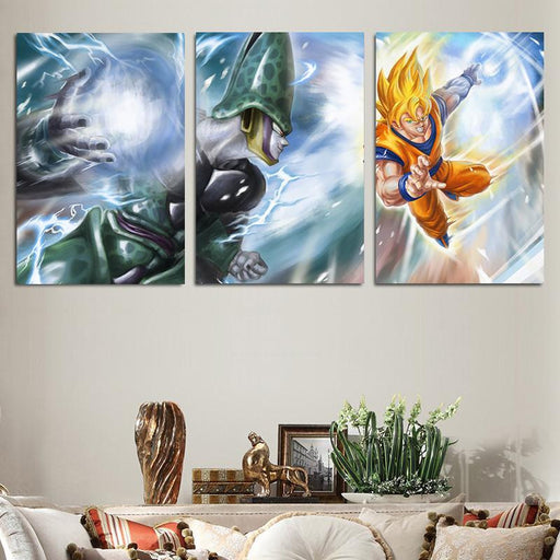 Dragon Ball Cell Villain Fight Goku Sketch 3pc Wall Art Decor Canvas Prints