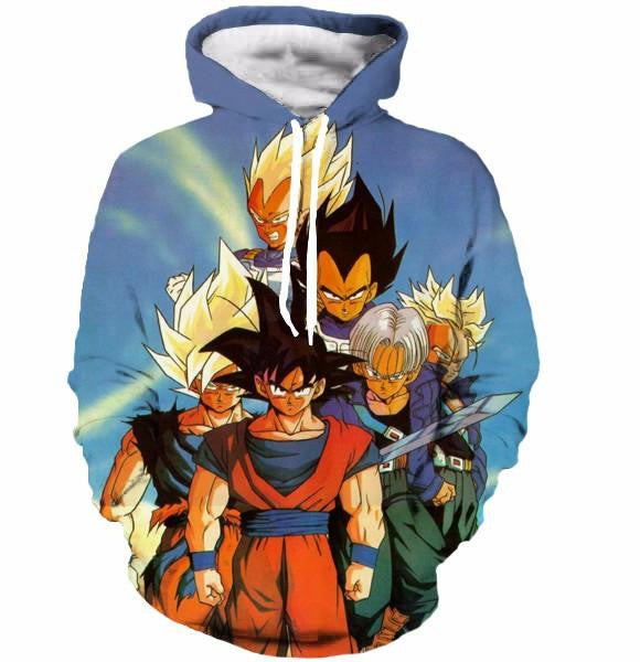 Dragon Ball Classic Goku Trunks Vegeta Blue Vintage 3D Hoodie - Saiyan Stuff