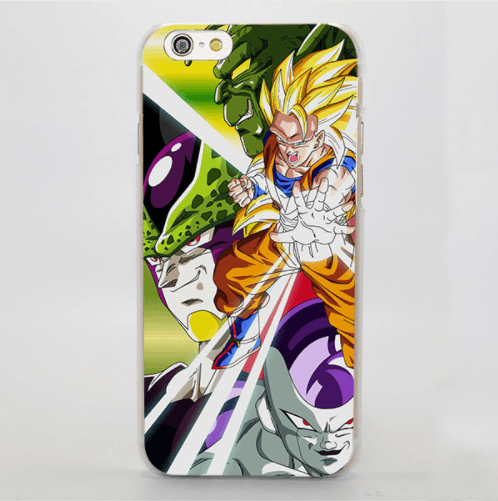 Dragon Ball Energetic Goku SS1 Cell Portrait iPhone 4 5 6 7 8 Plus X Case