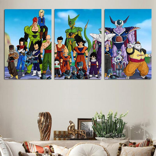 Dragon Ball Fighters Gather Portraits  3pc Wall Art Decor Canvas Prints