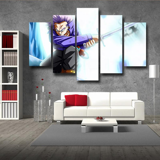 Dragon Ball Future Trunks Fight Sword 5pc Wall Art Decor Posters Canvas Prints