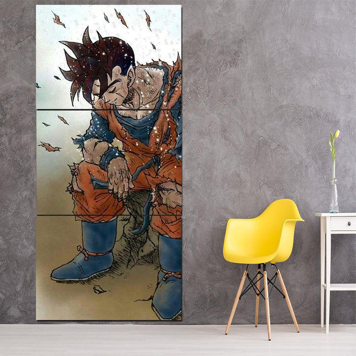 Dragon Ball Gohan Exhausted Design Vintage 3Pc Canvas Print