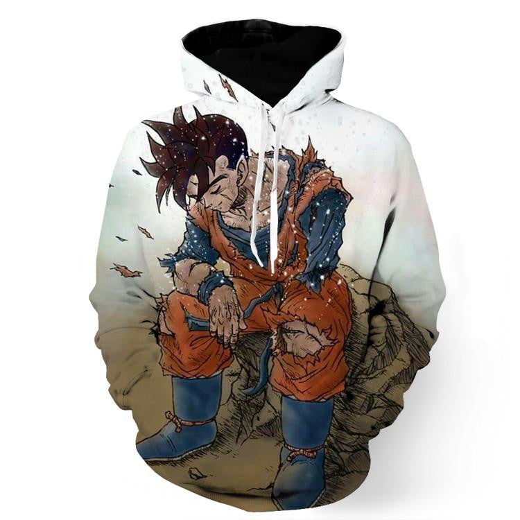 Dragon Ball Gohan Exhausted Sad Simple Design Vintage Streetwear Hoodie