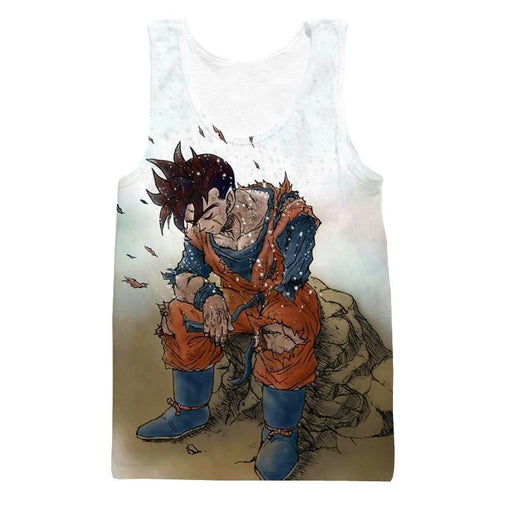 Dragon Ball Gohan Exhausted Sad Simple Design Vintage Streetwear Tank Top