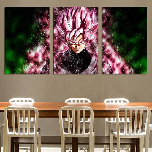 Dragon Ball Goku Black Super Saiyan Rose 3pc Wall Art Decor Canvas Prints