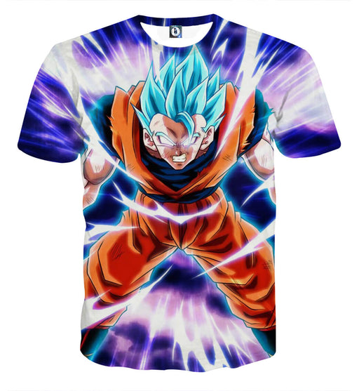 Dragon Ball Goku Blue Super Saiyan Epic Rage Casual T-Shirt