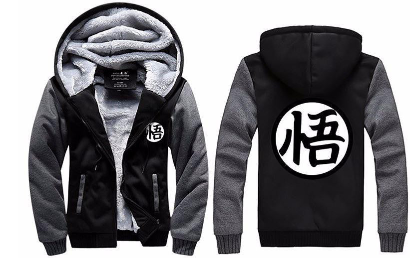 Dragon Ball Goku Cosplay Go Symbol Zipper Grey Black Hooded Jacket - Saiyan Stuff - 3