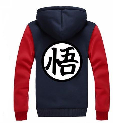 Dragon Ball Goku Cosplay Go Symbol Zipper Red Navy Hooded Jacket - Saiyan Stuff - 2