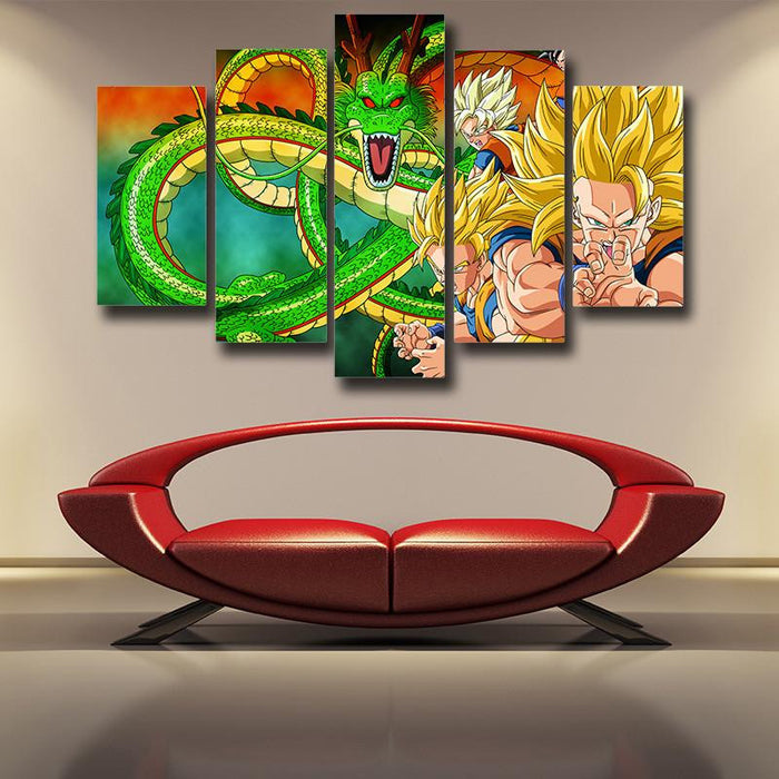 Dragon Ball Goku Evolution Shenron 5pc Wall Art Decor Posters Canvas Prints