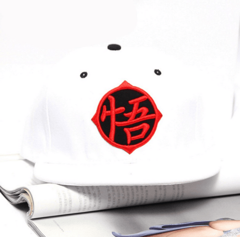 Dragon Ball Goku Kanji Symbol Hip Hop Snapback Hat Cap White - Saiyan Stuff