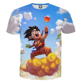 Dragon Ball Goku Kid Ride Flying Nimbus Cute Dope Streetwear T-Shirt