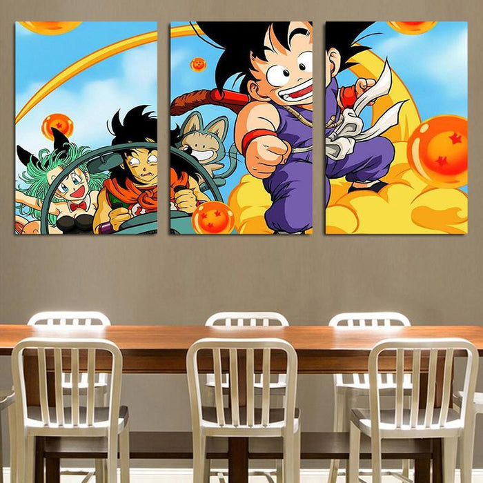 Dragon Ball Goku Kid Ride Nimbus Yamcha 3pc Wall Art Decor Canvas Prints