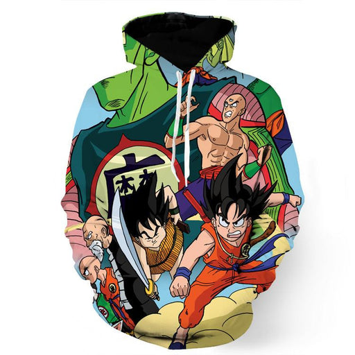 Dragon Ball Goku Kid Yajirobe Tien Shinhan Funny Drawing Streetwear Hoodie