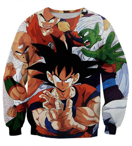 Dragon Ball Goku Piccolo Krillin Heroes Group Awesome Design Sweatshirt