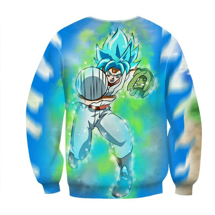 Dragon Ball Goku SSGSS God Blue Baseball Game Graphic Sweatshirt