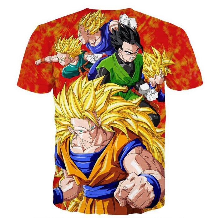 Dragon Ball Goku Super Saiyan 3 Vegeta Gohan Trending Design T-Shirt