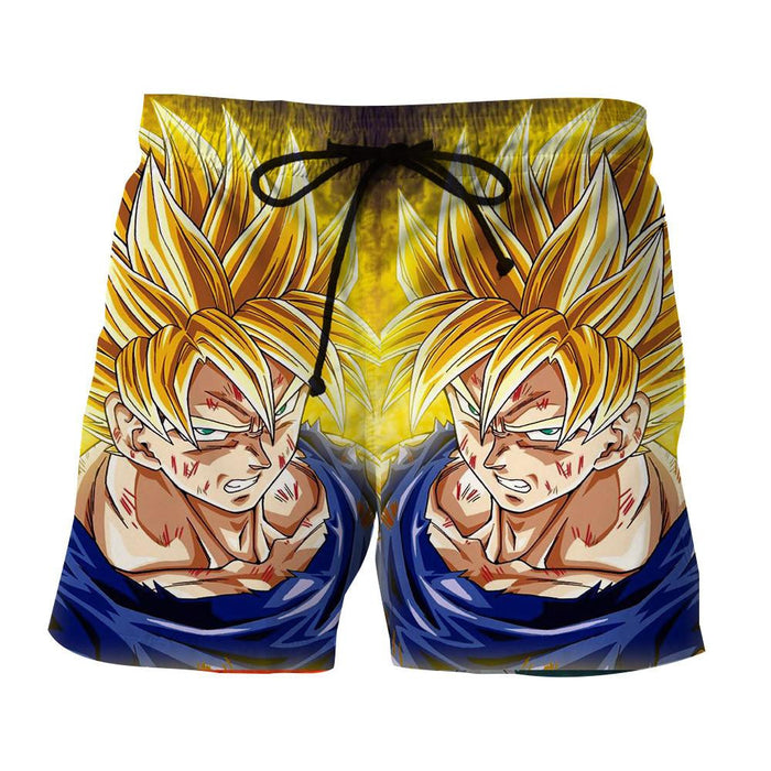 Dragon Ball Goku Super Saiyan Damage Fight Reflection Style Shorts