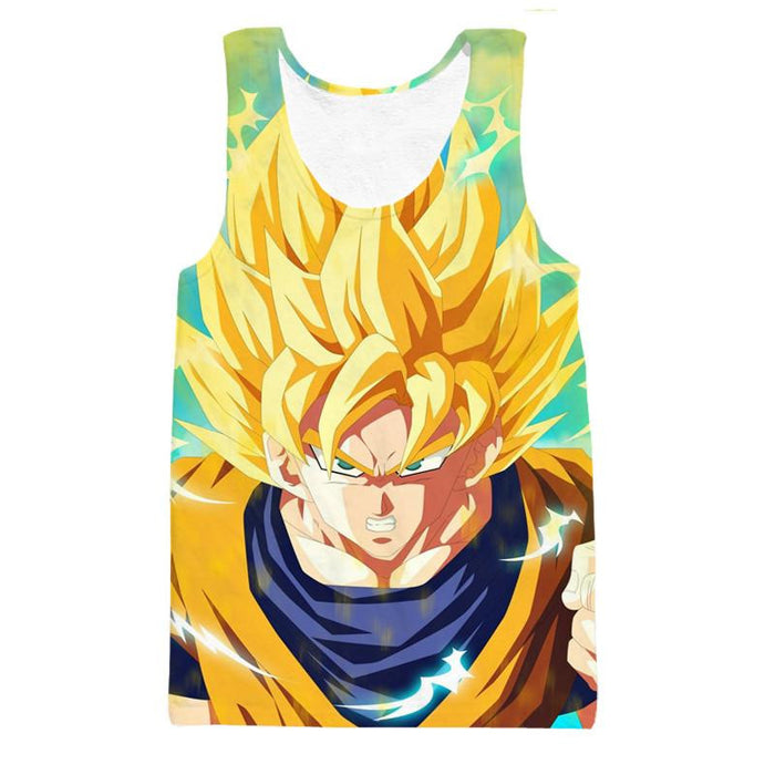 Dragon Ball Goku Super Saiyan Hero Thunder Design Street Style Tank Top