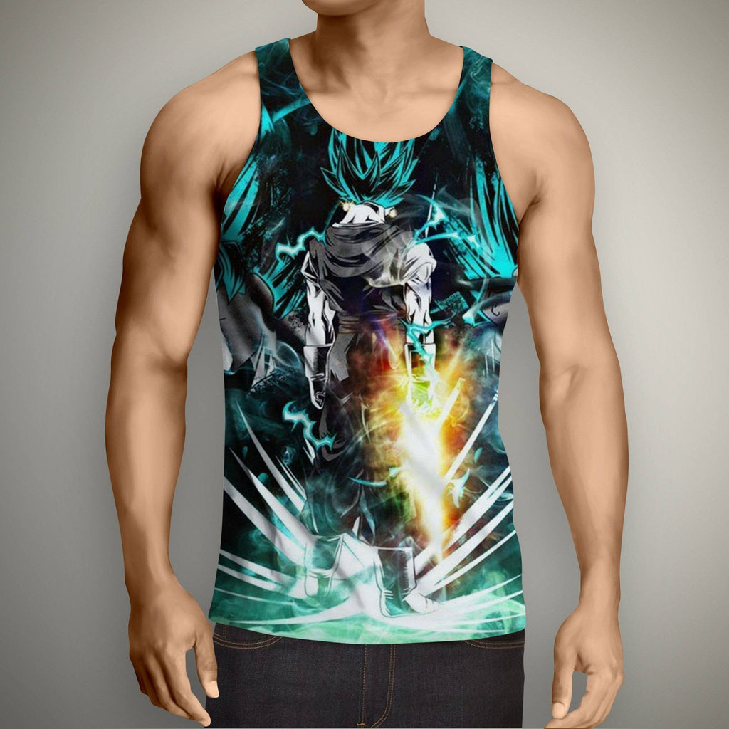 Dragon Ball Goku Super Saiyan Power Up Potara Fusion Design Tank Top