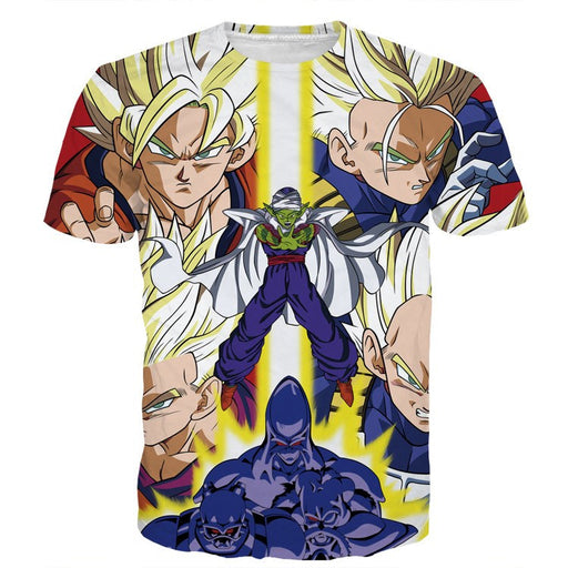 Dragon Ball Goku Vegeta Saiyan Piccolo Namekian Vibrant Design T-Shirt