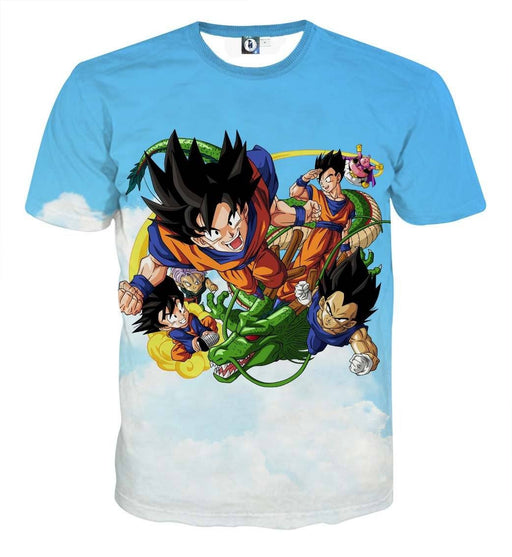 Dragon Ball Goku Vegeta Shenron Fly Vibrant Fun Theme T-Shirt