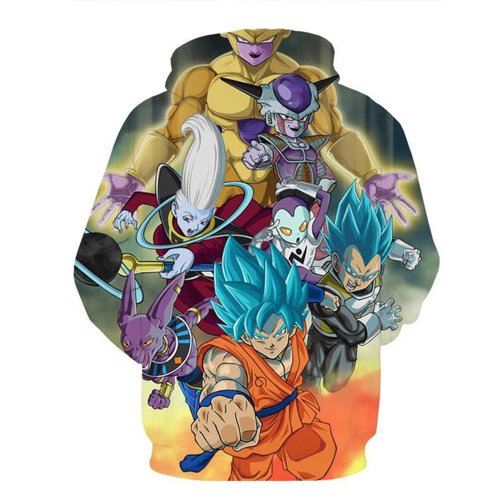 Dragon Ball Goku Vegeta Super Saiyan God Blue SSGSS Fight Villains Hoodie