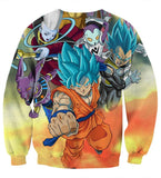 Dragon Ball Goku Vegeta Super Saiyan God Blue SSGSS Fight Villains Sweatshirt