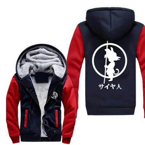 Dragon Ball Kid Goku Kanji Weapon Go Symbol Navy Red Hooded Jacket - Saiyan Stuff