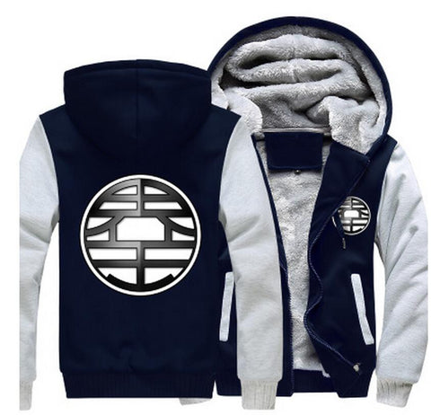 Dragon Ball King Kai Kanji Symbol Grey Navy Zipper Hooded Jacket - Saiyan Stuff