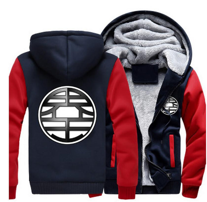 Dragon Ball King Kai Kanji Symbol Red Navy Zipper Hooded Jacket - Saiyan Stuff