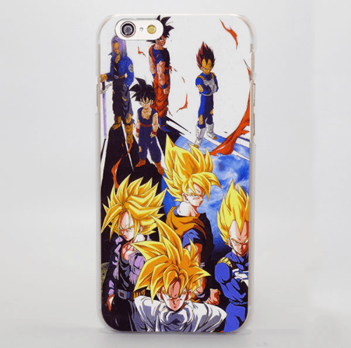 Dragon Ball Saiyan Group Goku Vegeta Gohan Trunks iPhone 4 5 6 7 Plus Case