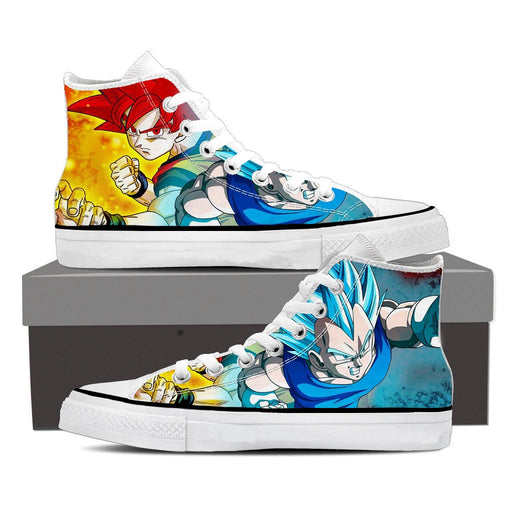 Dragon Ball Son Goku Vegeta Red Blue Serious Cool Sneaker Shoes