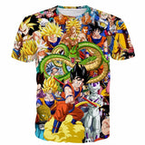 Dragon Ball Super Characters Heroes Goku Shenron Graphic 3D T- Shirt - Saiyan Stuff - 1