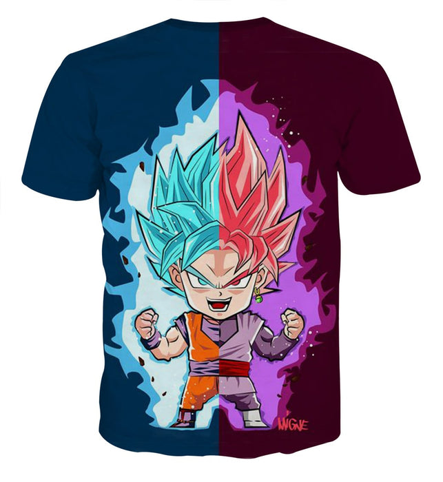 Dragon Ball Super Cute Chibi Blue Vegito Goku Rose T-Shirt
