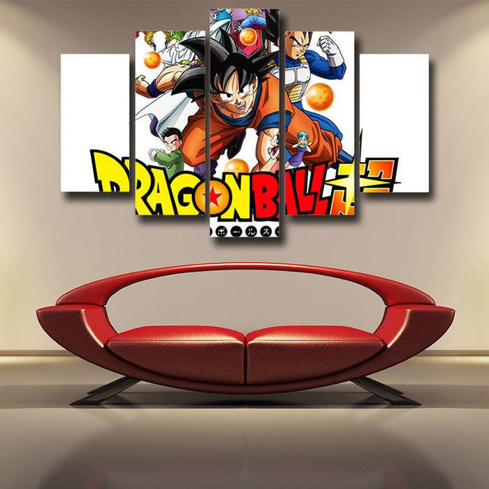Dragon Ball Super Introduction Characters Decor 5pc Canvas