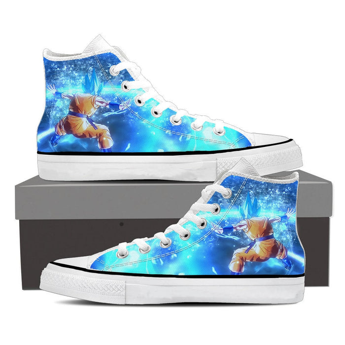 Dragon Ball Super Saiyan Goku Blue Kiai Blast Dope Sneaker Shoes