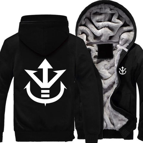 Dragon Ball Vegeta Saiyan Royal Crest All Black Zipper Hooded Jacket - Saiyan Stuff