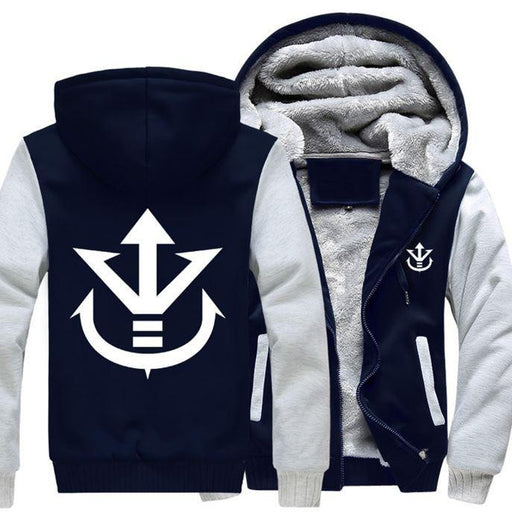 Dragon Ball Vegeta Saiyan Royal Crest White Navy Zipper Hooded Jacket - Saiyan Stuff
