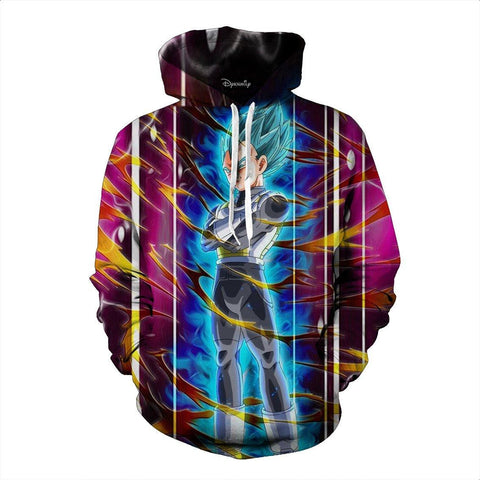 Dragon Ball Vegeta Super Saiyan God Blue SSGSS Aura Power Dope Design Pocket Hoodie