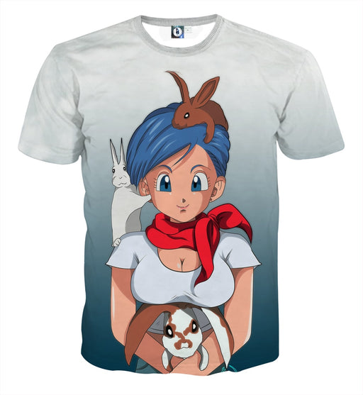 Dragon Ball Z Bulma Cute Adorable Pet Bunnies Rabbit T-Shirt
