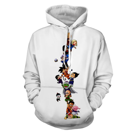 Dragon Ball Z Cute Adorable Chibi DBZ Characters White Hoodie