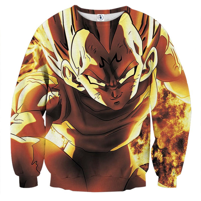 Dragon Ball Z Dope Majin Vegeta Grin Yellow Aura Sweatshirt