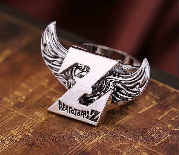Dragon Ball Z Logo Angel Wings Stainless Silver Ring - Saiyan Stuff