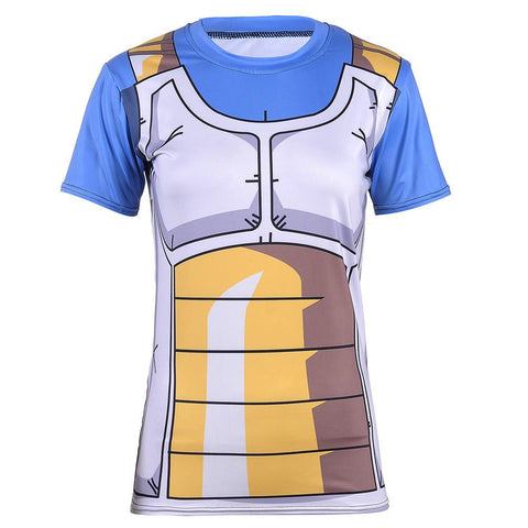 DBZ Vegeta Cell Saga Battle Saiyan Armor Fitness 3D Women T-Shirt