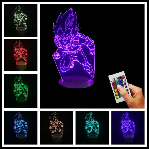 Dragon Ball Z Vegeta Super Saiyan Battle Attack 7 Color Changing Acrylic Panel Lamp - Saiyan Stuff - 1