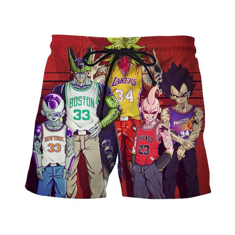 Dragon Ball Z Villains NBA Basketball Teams Wanted Casual Shorts - Saiyan Stuff - 1